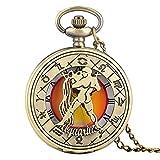 BBNBY Aries Tauro Géminis Cáncer Leo Virgo Libra Escorpio Sagitario Collar Colgante Relojes de Bolsillo de Cuarzo, Acuario