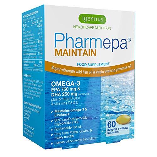 L'huile de poisson oméga-3 Pharmepa MAINTAIN, forte dose de 1000mg d'oméga-3 EPA & DHA par prise, huile de poisson de qualité pharmaceutique & huile d'onagre avec de la vitamine D3, 60 capsules