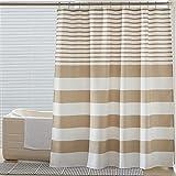 SEMECH Duschvorhänge hellbraun, Stoff Duschvorhang beige & weiß gestreift Duschvorhänge für Badezimmer mit Knopflöchern 183 x 183 cm
