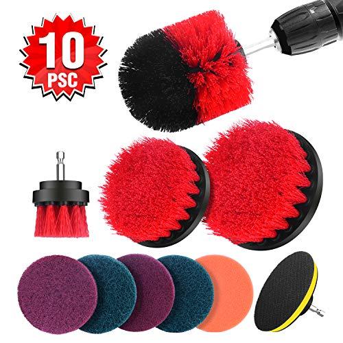 Hiraliy Bohrmaschine Bürstenaufsatz, 10pcs Reinigungsbürste kompatibel mit Bohrermaschine Bohrbürsten mit Anschluss Set für Fliesen Felgen Küche Auto - Rot