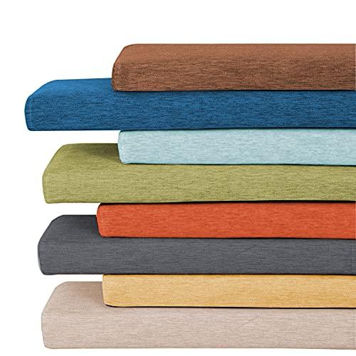 ZZeng RS Cojín de cojín de 3/5 cm de grosor para banco de jardín, 2 plazas, 100/120 cm de largo para silla de banco, respaldo para comedor, cocina, patio, columpio (80 x 35 x 5 cm), color azul