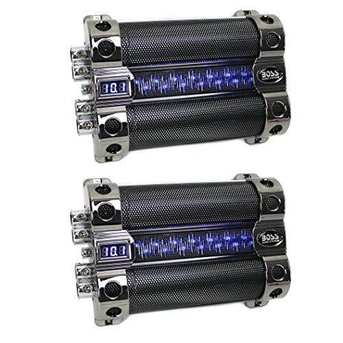BOSS 18 Farad Digital Car Audio Capacitor Cap w/Digital Light Show (2 Pack)