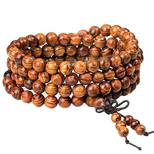YA-Uzeun Women Men 8mm Wooden Bead Buddhist Prayer Mala Necklace Bracelet Gift Jewelry
