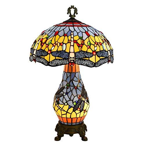 Lámpara de Mesa de Libélula para Interior,Lámpara de Escritorio de 16 Pulgadas,Lámparas de Noche con Pantalla de Vidrio Multicolor,Accesorio de Decoración con Cuentas de Cristal de 3 Luces con Cade