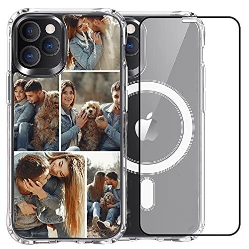 Custodia magnetica compatibile con iPhone 12 Pro 6,1 pollici, custodia protettiva magnetica antiurto in cristallo (magnete antiurto spazio 5 foto)