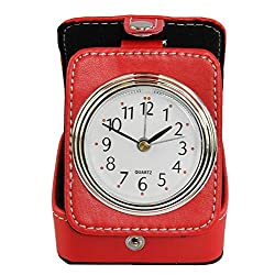 Home-X Red Analog Alarm Clock for Travel, Small Battery-Operated Bedside Clock and Case-3 L x 1 H