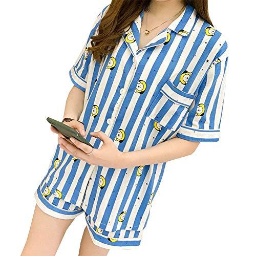 PINGJING BTS Bangtan Boys Cartoon Cute Summer Short Sleeve Harajuku Style Pajamas Sleepwear Nightgown Suits for Men and Women (Type B, M)