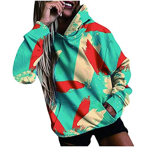 yiouyisheng Sudadera con capucha para mujer con girasol, plumas y graffiti de colores, para otoño e invierno, con capucha, para adolescentes y niñas, con bolsillos, azul, S