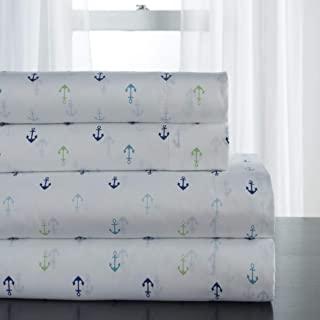 4 Piece Multi Coastal Anchors Themed Sheet Queen Set, Beautiful Embroidered Nautical Ocean Pattern Bedding, For Modern Bedrooms, Marine Life Theme Design, Vivid Colors Blue Green Grey, Microfiber