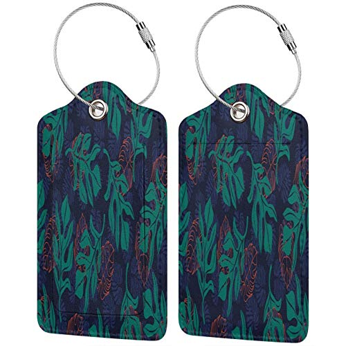 FULIYA Set of 2 Secure Luggage Tags High-end Leather Suitcase Luggage Tags Business Card Holder/Travel ID Bag Tag,Leaves, Texture, Patterns, Carved