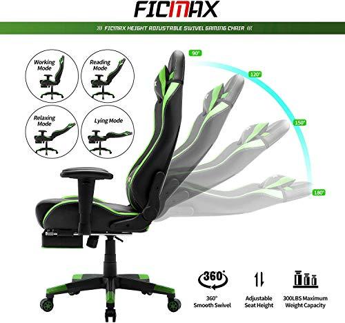 Sedia Gaming Ergonomica Sedia Per Computer con Massaggio Supporto Lombare, E-Sports Sedie da Gaming per computer, Sedia da Gioco con cuscino poggiatesta, Poltrona Gaming con Poggiapiedi(Nero&Verde)