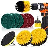 DAKCOS - Juego de 11 cepillos de taladro para limpiar el baño, pisos, baldosas de piscina, ladrillo, cerámica, mármol, lechada y coche