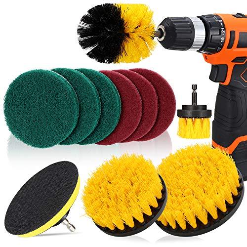 DAKCOS - Juego de 11 cepillos de taladro para limpieza de baño, suelos, baldosas de piscina, ladrillo, cerámica, mármol, lechada y coche