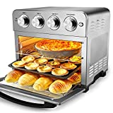 Geek Chef Air Fryer Toaster Oven, 6 Slice 24QT Convection Airfryer Countertop Oven, Roast, Bake, Broil, Reheat, Fry Oil-Free, Accessories & Cookbook Included, Stainless Steel, Silver, 1700W