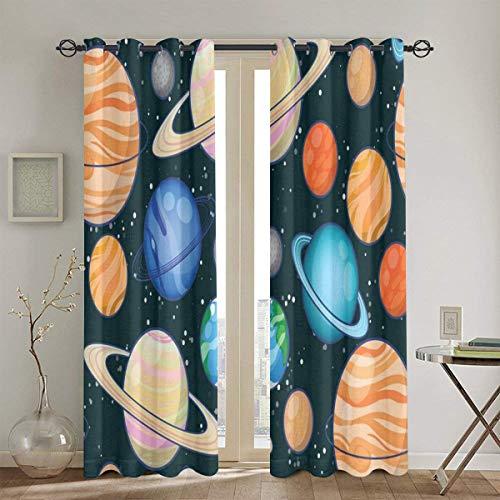 xiaolang Gardine, Galaxy Space Art Sonnensystem Planeten Mars Merkur Uranus Jupiter Venus Kinder Druck, 2 Panel Set Wohnzimmer Schlafzimmer Blackout Fenster Vorhänge104in x84in (260cm x210cm)