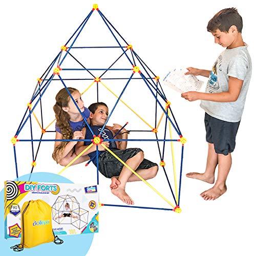Fort Kits de construcción para niños y niñas, 90 piezas, juego de construcción interior con barras de construcción, esferas conectores, bolsa, caja de regalo y guía para educación STEM para edificios de castillos y tiendas de campaña