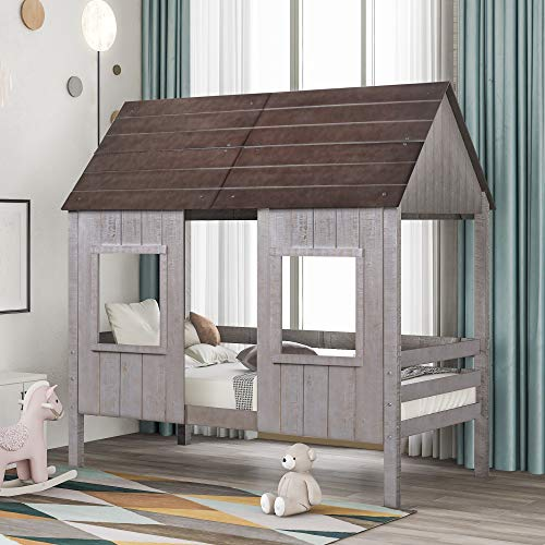 LZ LEISURE ZONE Twin Size Low Loft Bed, Wood House Bed Twin Bed Frame with 2 Front Windows for Kids/Teens/Girls/Boys, No Box Spring Needed (Antique Gray)