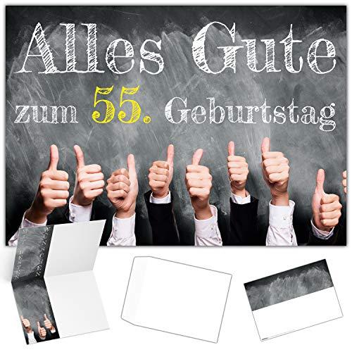 A4 XXL 55 Geburtstag Karte DAUMEN HOCH mit Umschlag - edle Geburtstagskarte - Glückwunschkarte zum 55. Geburtstag für Mann & Frau von BREITENWERK