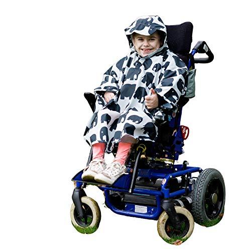 Kinder Rollstuhl-Poncho | Wasserdichter Regenponcho 4–11 Jahre | Universelle Passform | Schirmmütze | Druckknöpfe unter Kinn und Armen | Kommt mit eigenem Stuff Sack (grauer Elefant)