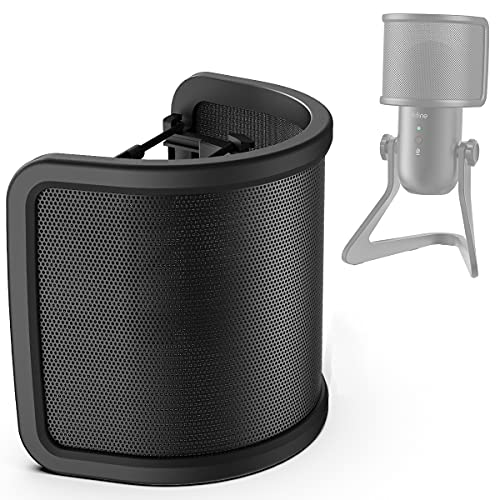 Pop Filter, FIFINE Mic Pop Shield Windscreen Cover with Metal Mesh, Compact...