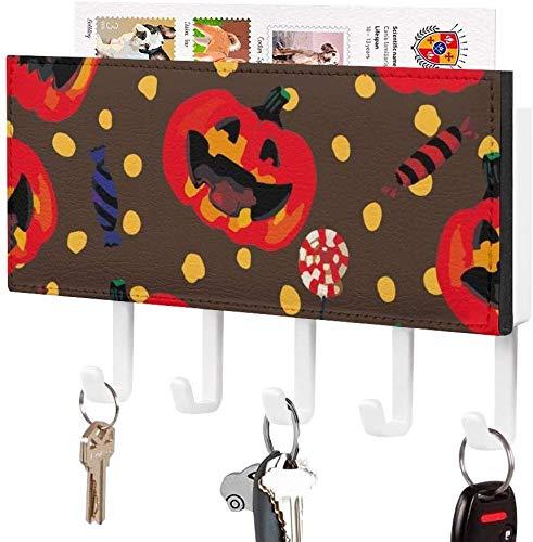 Clasificador de correo - Soporte para llaves, Gancho para llaves montado en la pared, Ilustración de puntos de murciélago con linterna de calabaza con tema de Halloween, Soporte para correo de entrad