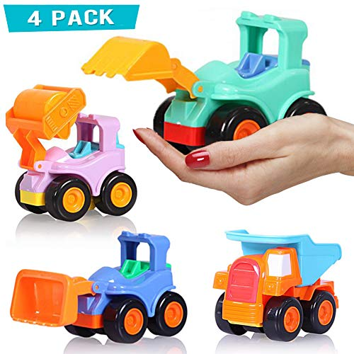 BEESTECH Toy Cars for 2,3,4,5 Year old Boys Girls Toddlers, Friction Powered Cars, Push and Go Construction Truck Toys, Pull back and Go Vehicles with Dumper Road Roller Bulldozer Excavator 4 Pack Gif