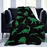Attackingstop Microfiber Shaggy Blanket Durable Decorative Blanket Cartoon Green Dinosaur Lesothosaurus Animal Throw Couch Cover for Nap Girls Bedding