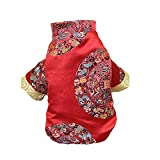 NACOCO Dog Tang Costume Blessing Pet Winter Coat Happy New Year Cheongsam Qipao Dresses Cat Peony Design Clothes for Schnauzer Teddy French Bulldog (Red Blessing, S)