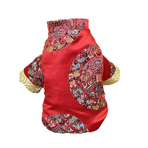 NACOCO Dog Tang Costume Blessing Pet Winter Coat Happy New Year Cheongsam Qipao Dresses Cat Peony Design Clothes for Schnauzer Teddy French Bulldog (Red Blessing, L)