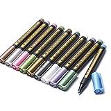 Chnrong - Pennarello metallico a punta media, per pittura su roccia, carta nera, per scrapbooking, album fotografici, colori assortiti, 10 pezzi