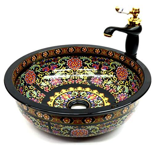 Negro floral flor modelado baño cerámica encimera lavabo lavabo lavabo redondo tazón vintage Kasbah marroquí pintado a mano impresión artesanal elegante moderno retro