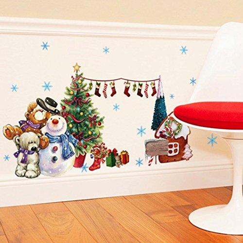 Saingace Weihnachtssticker,Weihnachtsmann Weihnachten Glas Fenster Transparente Film Abnehmbare Wandaufkleber Wandtattoo Wandsticker