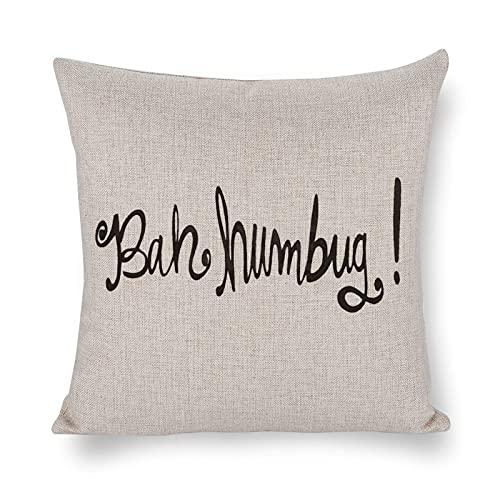 DKISEE - Federa decorativa per cuscino, in cotone e lino, motivo Bah Humbug, per soggiorno, divano, letto, casa, interni, 45,7 x 45,7 cm