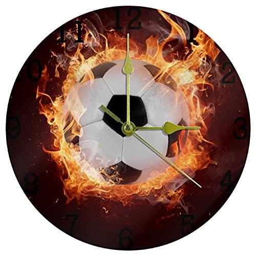 EZIOLY Reloj de pared deportivo con llama, silencioso, de cuarzo, funciona con pilas, funciona con pilas, para el hogar/la cocina/la oficina/la escuela