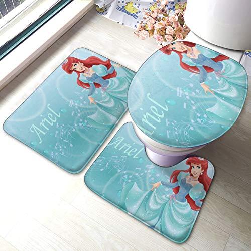 Princess Ariel Bathroom Rug, Non Slip Bath Mat + U-Shaped Contour Rug + Toilet Lid Cover Set 3 Piece
