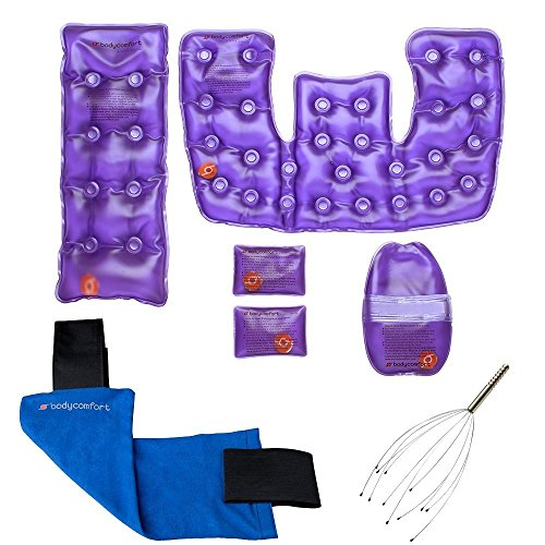 Body Comfort Reusable Instant Heat Packs Set with a Neck & Shoulder, Back, Hand, and Pocket Packs with Head Massager.
