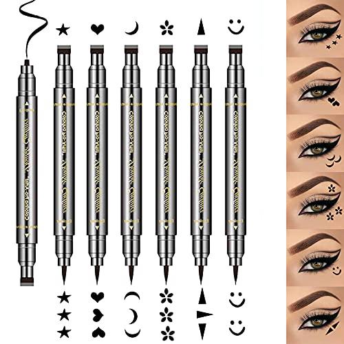 6Pcs Erinde doppelseitiger flüssiger Eyeliner-Bleistift Eyeliner-Stempel Make-up, wasserdichter schwarzer flüssiger Eyeliner-Bleistift Langlebiges und wischfestes Eyeliner-Tattoo-Tool
