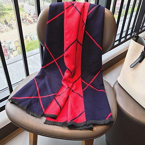 BAGEHUAN Herbst und Winter Schals weiblichen rote Linien doppelseitige Double-Use Schalkragen, EIN