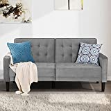 Walsunny Modern loveseat Couch, Mid-Century Velvet Upholstered Futon Sofa Bed, Fold Up/Down Adjustable Sleeper Sofa for Living Room, Bedroom, Apartment(Grey)