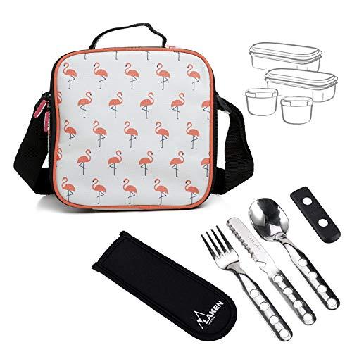 PracticFood Tatay Kit Urban Food Flamingo con Cubiertos - Bolsa Térmica Porta Alimentos con Tapers Herméticos