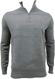 BRAVE SOUL Mens Zip Neck Charcoal Grey Winter Jumper Sweater Sweatshirt Size Small