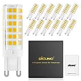 DiCUNO Bombillas LED G9 De 6W Equivalentes A Bomlillas Halógenas De 60W, Blanca Cálida 3000K 550LM,G9 Cerámica Base, Pack De 12…