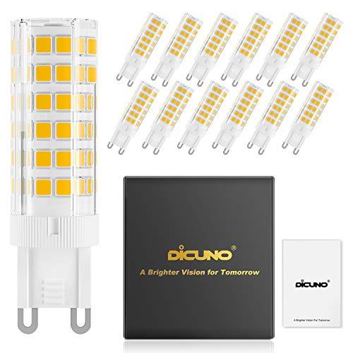 DiCUNO G9 6W Dimmbar LED Lampe, 550LM, Warmweiß 3000K, 220-240V, Ersatz für 60W Halogen Leuchtmittel, Bi-Pin G9 Sockel, (12er-Pack)