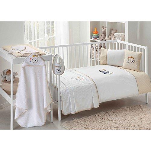 TAC - Sweet Driver Juego de Ropa de Cama para bebé, 11 Piezas, Funda de Cama de poliéster, 100% algodón, hipoalergénico, Color Blanco y Beige