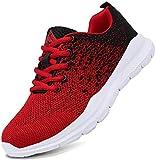 Mishansha Laufschuhe Damen Herren Sneaker Sportschuhe Freizeit Fitness Indoor Turnschuhe Schuhe Joggingschuhe Walkingschuhe 38 EU Rot