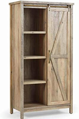 Amazon Com Bs Kitchen Cabinet Bookcase Rustic Distressed Farmhouse Barn Door Pantry Storage Hutch Cupboard Sliding Door 5 Adjustable Shelves Tall Accent Storage Cabinet Craft Living Room Furniture Furniture Decor