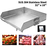 """Minneer 18""""x32"""" Griddle Grill Stainless Steel Universal Griddle with Even Heat Cross Bracing"""