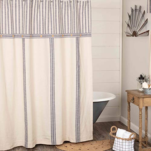 "Market Place Blue Ticking and Grain Sack Stripe Shower Curtain, 72"" x 72"", Blue & Natural Cream, Farmhouse Bathroom Décor"