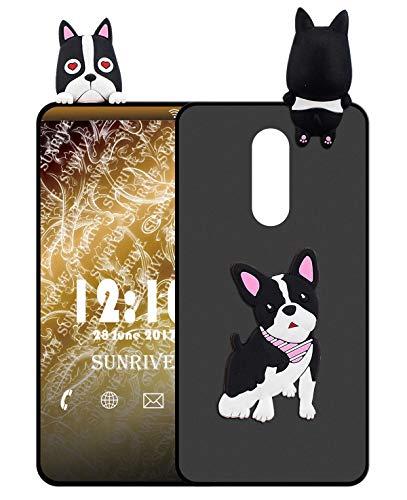 Sunrive Für TP-LINK Neffos X1 Lite Hülle Silikon, Handyhülle matt Schutzhülle Etui 3D Case Backcover für TP-LINK Neffos X1 Lite(W1 Hündchen) MEHRWEG+Gratis Universal Eingabestift