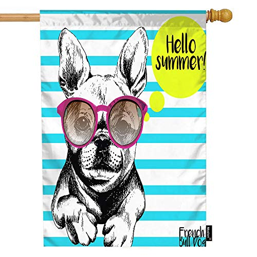 Moslion Dog House Flag Stripe French Bulldog with Sunglasses Hello Summer Garden Flags 28x40 Inch Double-Sided Banner Welcome Yard Flag Home Outdoor Decor. Lawn Villa
